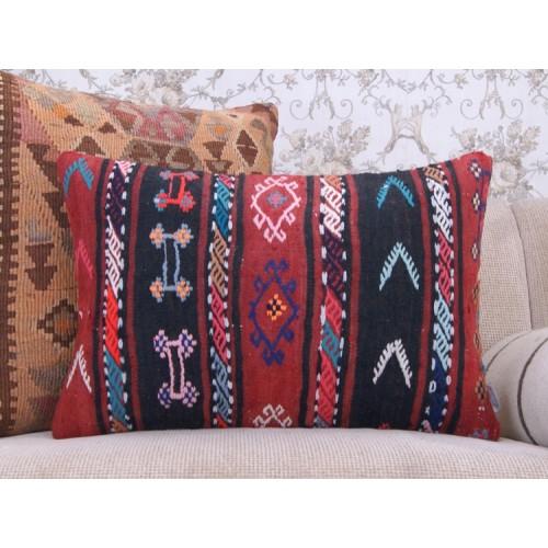 "Retro Colorful Kilim Pillow 16x24"" Embroidered Bohemian Decor Cushion"