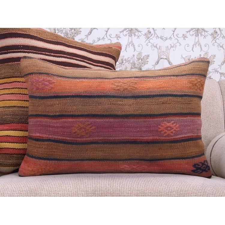 Antique Handmade Kilim Throw Pillow 16x24 Embroidered Retro Rug Cushion