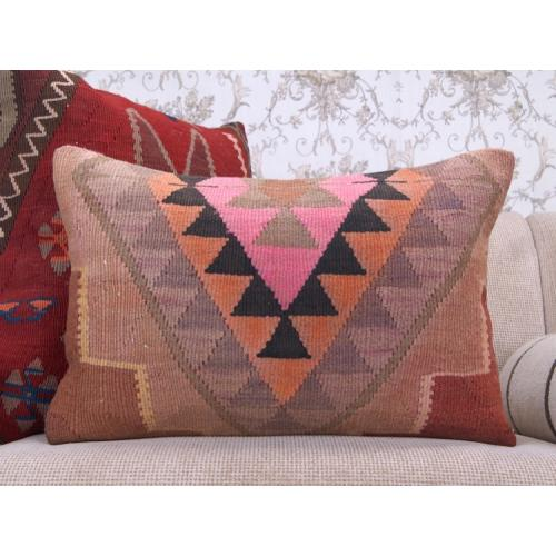 "Bohemian Style Kilim Pillow 16x24"" Handmade Colorful Lumbar Rug Cushion"