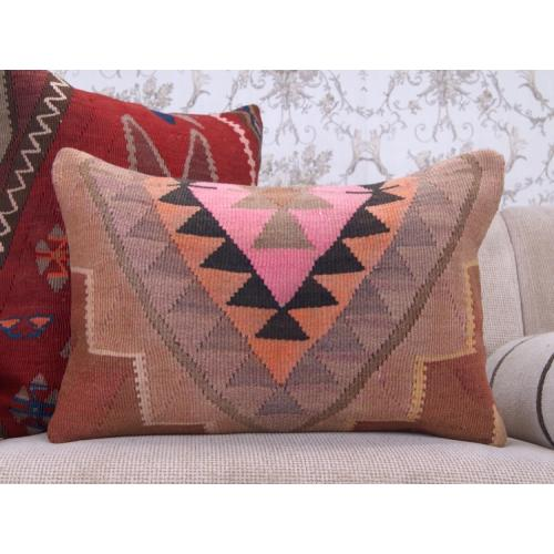 "Boho Interior Decor Throw Pillow Colorful 16x24"" Lumbar Kilim Cushion"