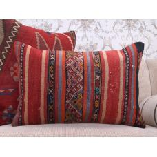 "Embroidered Anatolian Kilim Pillow 16x24"" Vintage Lumbar Rug Cushion"