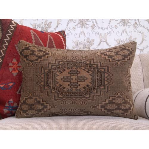 "Handmade Lumbar Rug Cushion 16x24"" Brown Geometric Decor Throw Pillow"