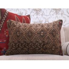Retro Handmade Rug Cushion Earthy Decorative Turkish Lumbar Pillow