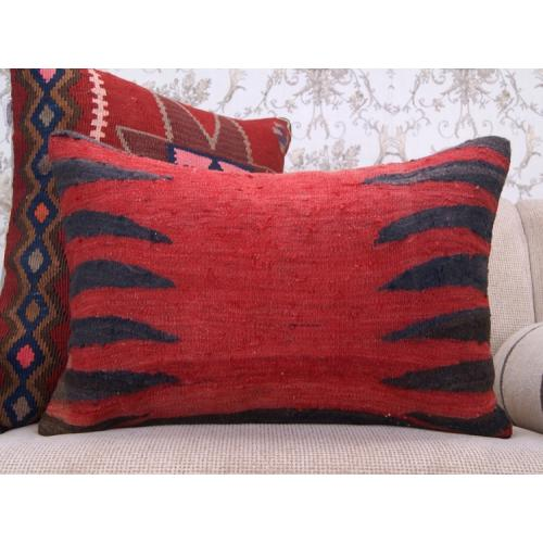 Tribal Anatolian Kilim Pillow 16x24 Vintage Handmade Rug Cushion Cover