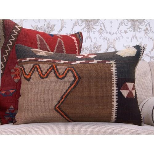 "Tribal Turkish Rug Pillow Cover Ethnic 16x24"" Lumbar Kilim Pillowcase"