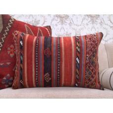 "Vintage Lumbar Kilim Pillow 16x24"" Anatolian Interior Decor Rug Cushion"