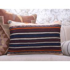 "Antique Striped Kilim Throw Pillow 16x24"" Lumbar Sofa Decor Pillowcase"
