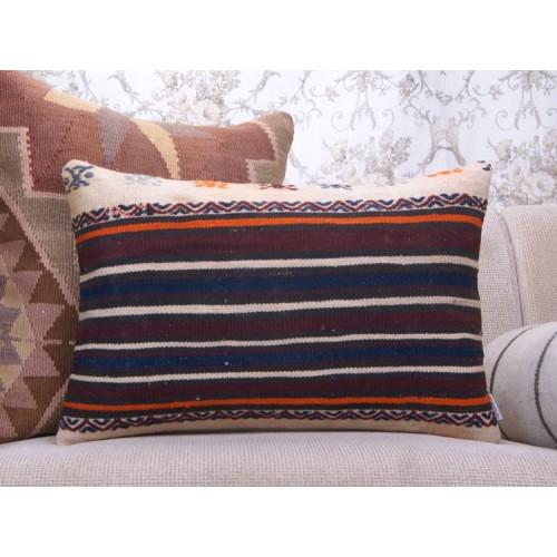 "Antique Striped Kilim Throw Pillow 16x24"" Lumbar Sofa Decor Pillowcase"