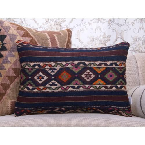 Bergama Vintage Kilim Cushion 16x24 Embroidered Home Decor Throw Pillow