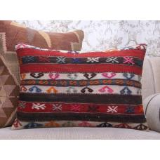 "Colorful Antique Lumbar Kilim Pillow 16x24"" Embroidered Rug Decor Throw"