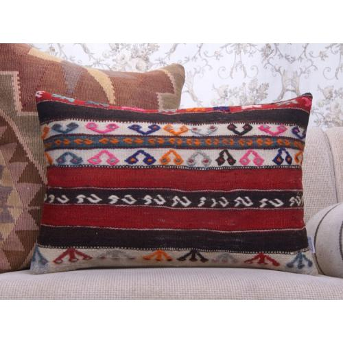 "Cottage Decor Throw Embroidered Kilim Pillow 16x24"" Lumbar Rug Cushion"