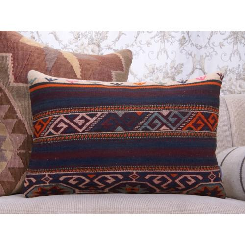 Pergamum Vintage Kilim Pillow Embroidered Rug 16x24 Lumbar Decor Throw