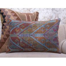 Shabby Colorful Kilim Pillow Antique Handmade Rug Sofa Decor Throw