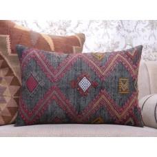 "Vintage Designer Black Kilim Pillow 16x24"" Embroidered Lumbar Rug Throw"