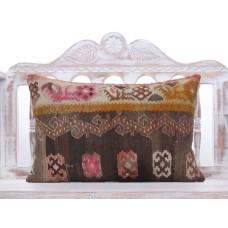 "Antique Anatolian Lumbar Kilim Pillow 16x24"" Boho Decoration Sofa Throw"