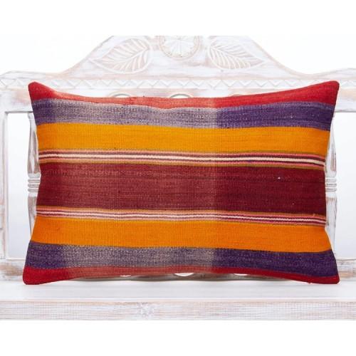 Bohemian Interior Decor Throw Pillow 16x24 Striped Lumbar Kilim Cushion