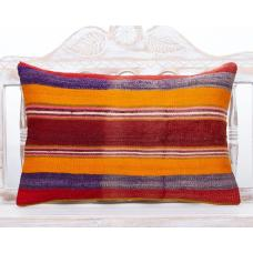 Colorful Shabby Handmade Pillow 16x24 Striped Lumbar Boho Kilim Cushion