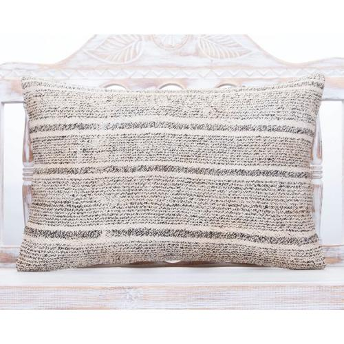 Contemporary Lumbar Throw Pillow 16x24 Striped Gray Kilim Cushion Cover