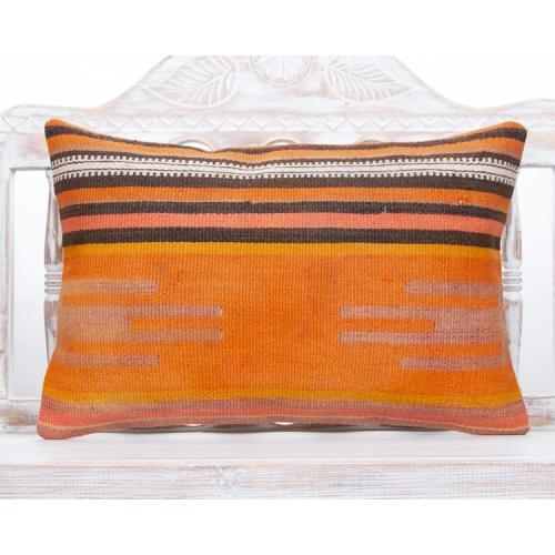 Orange Lumbar Turkish Rug Pillow 16x24 Vintage Decorative Kilim Cushion