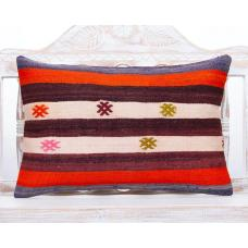 Striped Handmade Lumbar Rug Cushion Colorful 16x24 Sofa Kilim Pillow