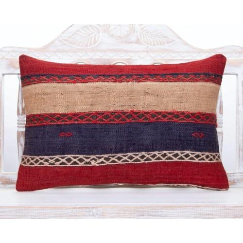 Striped Nomadic Lumbar Kilim Pillow 16x24 Decorative Colorful Cushion