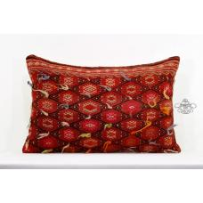Red Shaggy Lumbar Pillow Interior Decor Turkish Embroidered Kilim Cushion Cover
