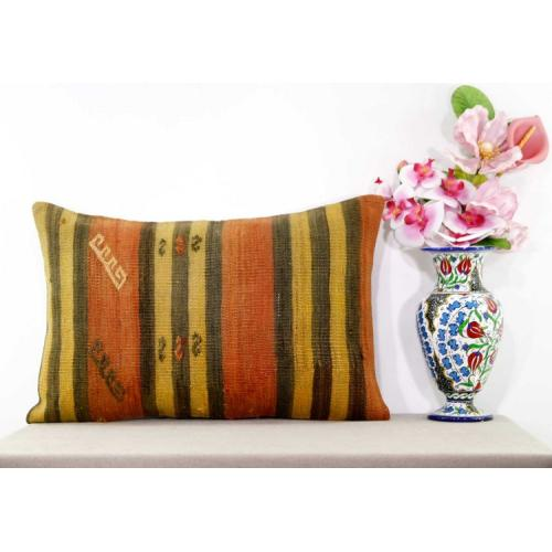 Rustic Decoration Lumbar Kilim Rug Pillow Vintage Interior Decor Ethnic Cushion