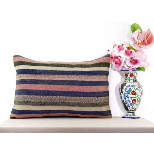 Rustic Decoration Striped Kilim Rug Pillow Turkish Large Lumbar Cushion Cover