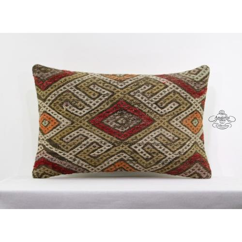 Vintage Designer Pillow Embroidered Turkish Kilim Rug Lumbar Cushion Cover 16x24
