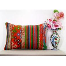 Vintage Interior Decor Pillow Cover Turkish Kilim Rug Lumbar Cushion Sham 16x24""
