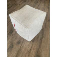 "Handmade Hemp Ottoman Pouf 17x17"" White Turkish Kilim Throw Pouffe"