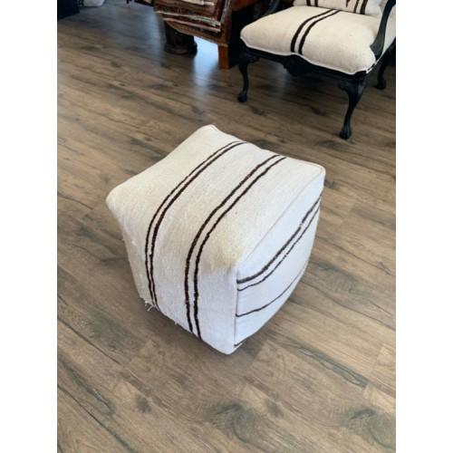 "Striped Ottoman Hemp Pouf 17"" White Handmade Kilim Throw Floor Pouffe"
