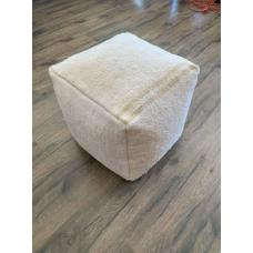 "Soft White Hemp Pouf 17x17"" Striped Decorative Handmade Floor Pouffe"