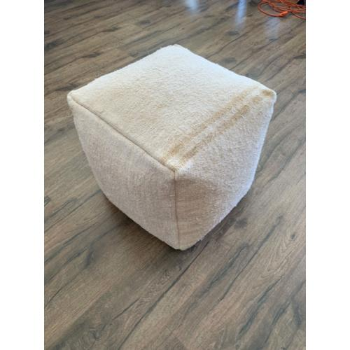 "Soft White Hemp Pouf 17x17"" Striped Decorative Handmade Floor Pouffe"