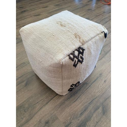 "Black~White Embroidered Hemp Pouf 17x17"" Handmade Kilim Floor Pouffe"
