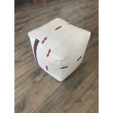"""Modern Decor White Hemp Pouf Ottoman 17x17"""" Handmade Kilim Rug Pouffe"""