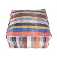 Colorful Kilim Pouf Contemporary Interior Decor Throw Ottoman Rug Puff