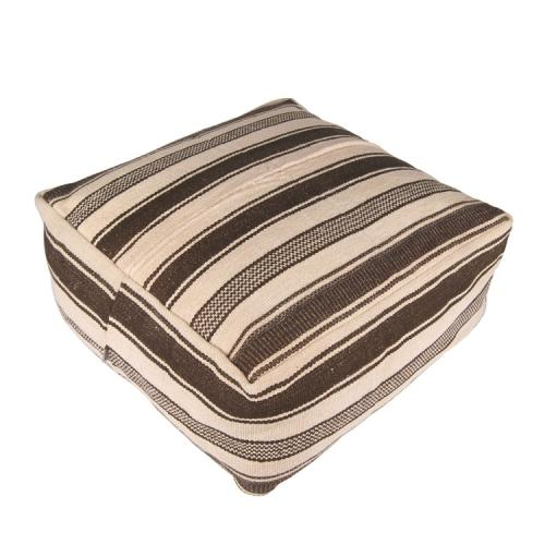 Decorative Striped Large Ottoman Kilim Pouf Striped Natural Floor Throw