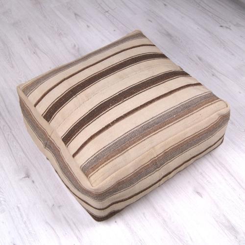 "Natural Striped Ottoman Pouf 14x28"" Large Handmade Floor Throw Pillow"