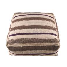 Striped Turkish Kilim Pouf Decorative Handmade Natural Cubic Rug Puff