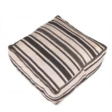 White Handmade Black Striped Kilim Pouf Decorative Floor Throw Pouffe