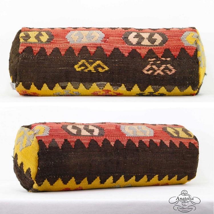 Anatolian Kilim Rug Bolster Pillow Cover Vintage Cylinder Turkish Kelim Pillowcase Sofa Back Throw