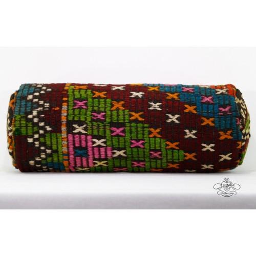Ethnic Interior Decor Bolster Kilim Pillow Cover Vintage Kelim Rug Cushion Embroidered Turkish Pillowcase