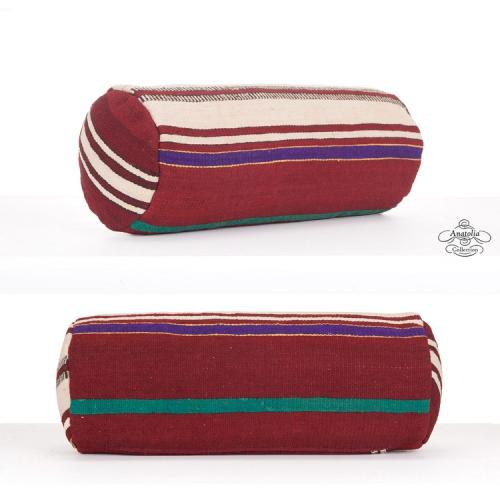 Rustic Striped Bolster Kilim Pillow Cylinder Cushion Round Sofa Throw