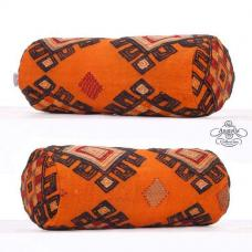Orange Embroidered Bolster Kilim Pillow Cover Decorative Round Cushion