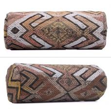 "Antique Turkish  Cylinder Kilim Cushion 8x20"" Rustic Decor Throw Pillow"