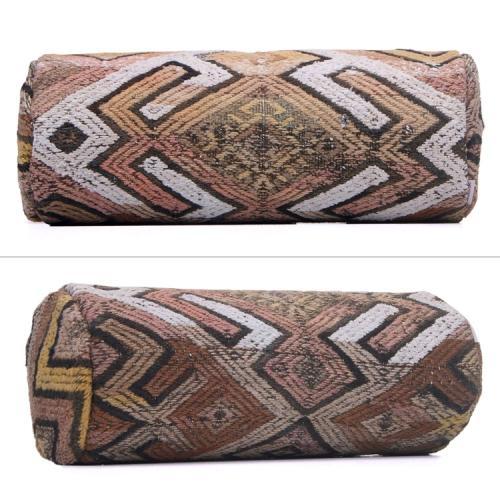 "Antique Turkish  Cylinder Kilim Cushion 8x20"" Rustic Decor Throw Pillow"