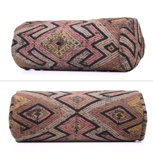 Bohemian Style Antique Kilim Pillow Decorative Cylinder Form Cushion