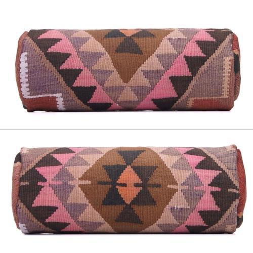 """Round Handmade Kilim Pillow 8x20"""" Bohemian Style Interior Decor Throw"""