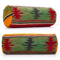 Anatolian Retro Bolster Kilim Pillow Handmade Colorful Cylinder Cushion